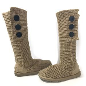 UGG Classic Oat Tan Cardy Sweater Tall Knit Boots